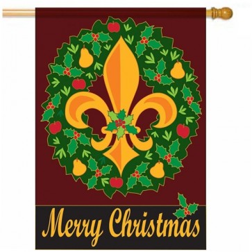 Christmas Wreath with Fleur De Lis House Flag