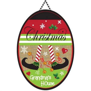 Christmas at Grandmas House Burlap Door Banner