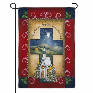 Christmas Cross Garden Flag