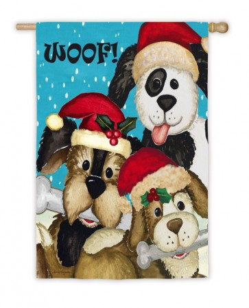 Christmas Dogs House Flag