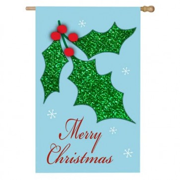Christmas Holly House Flag  (CLOSEOUT)