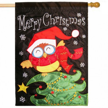 Christmas Owl Christmas House Flag
