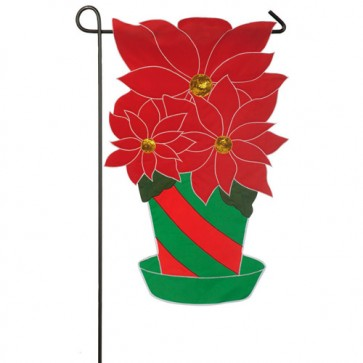 Christmas Poinsettia Garden Flag