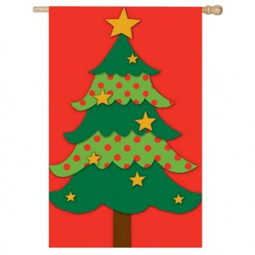 Christmas Tree House Flag