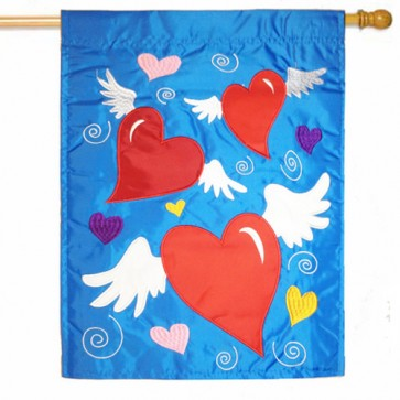 Classical Hearts Valentines Day House Flag