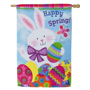Colorful Bunny Easter House Flag