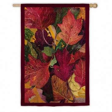 Colorful Fall Leaves  House Flag