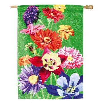 Colorful Flowers House Flag