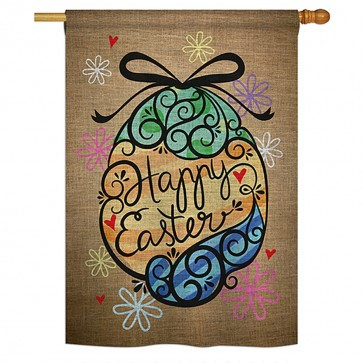 Colorful Happy Easter Egg House Flag