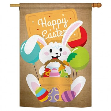 Colourful Happy Easter Egg with Bunny House Flag