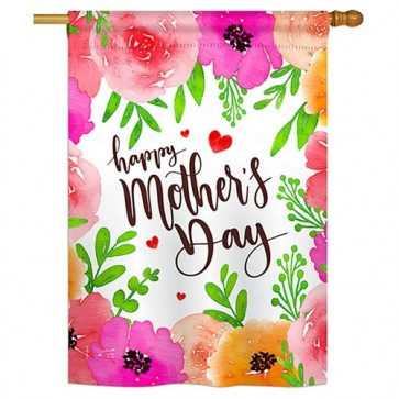 Colorful Happy Mothers Day House Flag