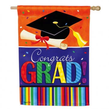 Confetti Graduation House Flag