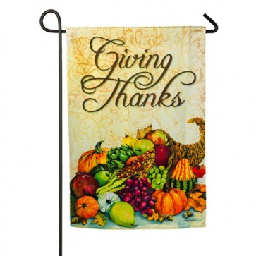 Cornucopia Giving Thanks Garden Flag