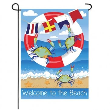 Crab Welcome Garden Flag