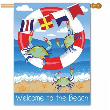 Crab Welcome Summer House Flag