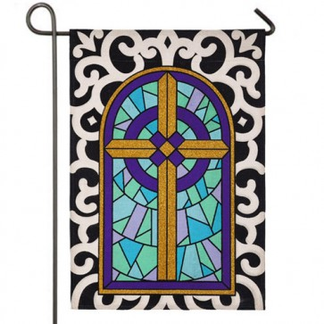 Cross with Scroll Border Religious Easter Garden Flag