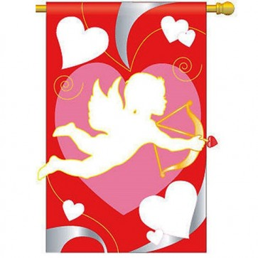 Cupid and Heart Valentine's Day House Flag