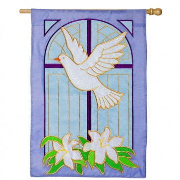 Dove and Cross Easter House Flag