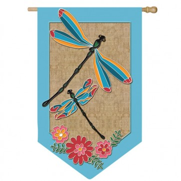Burlap Dragonflies House Flag