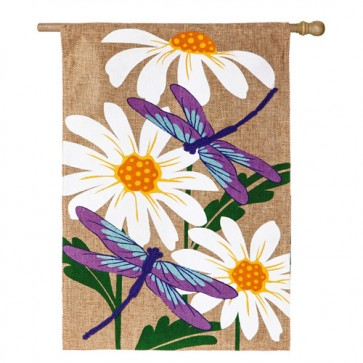 Dragonflies Burlap House Flag