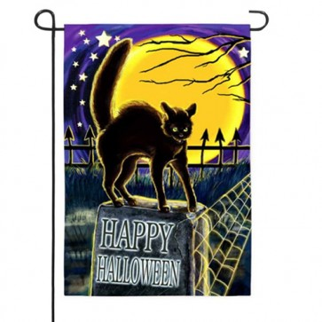 Cat on Headstone Garden Flag
