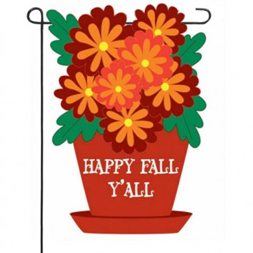 Floral Happy Fall Y' all   Garden Flag