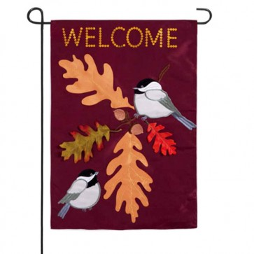 Chickadee Welcome Garden Flag