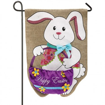Easter Bunny and Basket Burlap Garden Flag