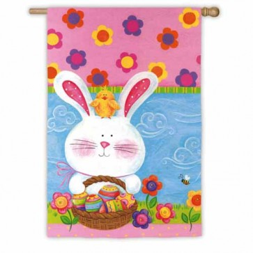Easter Bunny and Chick House Flag