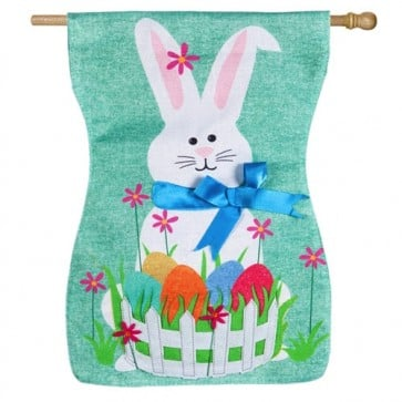 Easter Bunny Burlap House Flag