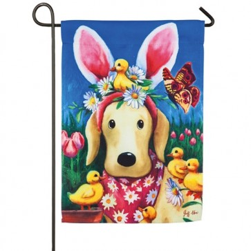 Easter Bunny Ears on Dog Garden Flag