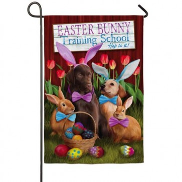 Easter Bunny Training School Garden Flag
