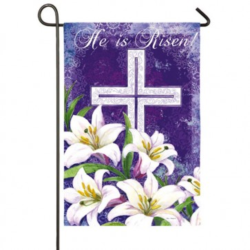 Easter Cross and Lillies Garden Flag