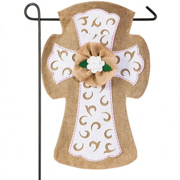 Easter Cross Burlap Garden Flag