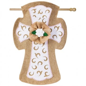 Easter Cross Burlap House Flag