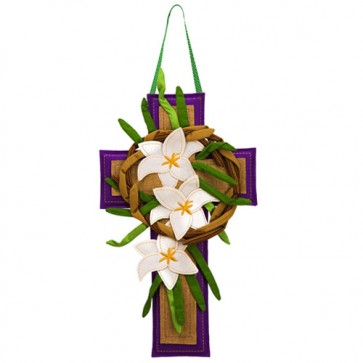 Easter Cross Burlap Easter Door Hanger