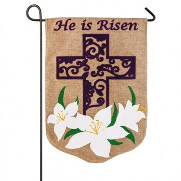 Easter Lilly Burlap Garden Flag