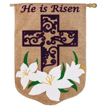 Easter Lilly Burlap House Flag