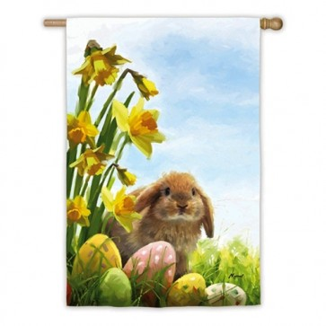Easter Bunny and Chicks House Flag