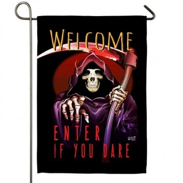 Enter if you Dare Garden Flag