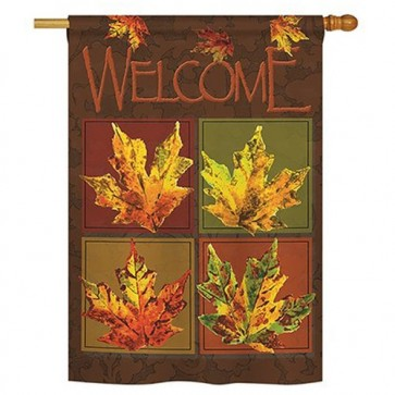 Fall Leaves Collage House Flag
