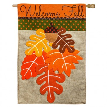 Fall Leaves Burlap  House Flag