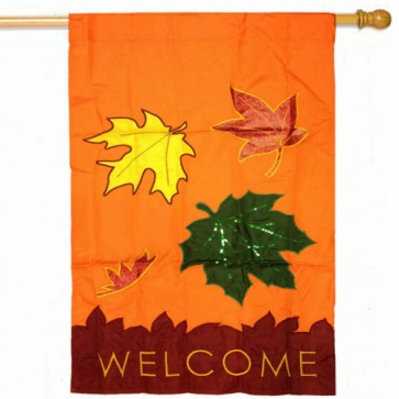 Fall Leaves Welcome  House Flag (CLOSEOUT)