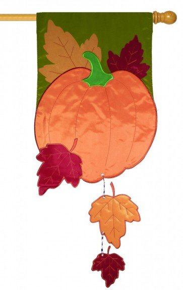 Fall Pumpkin with Falling Leaves House Flag