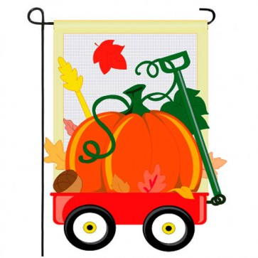 Fall Pumpkins Hand Wagon Garden Flag
