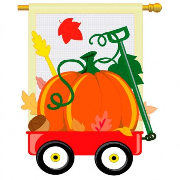 Fall Pumpkins Hand Wagon House Flag