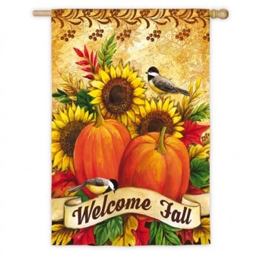 Fall Sunflowers, Pumpkins & Birds House Flag