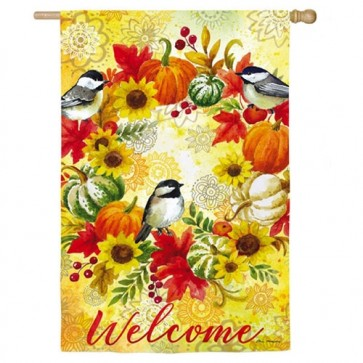 Fall Wreath and Chickadees House Flag