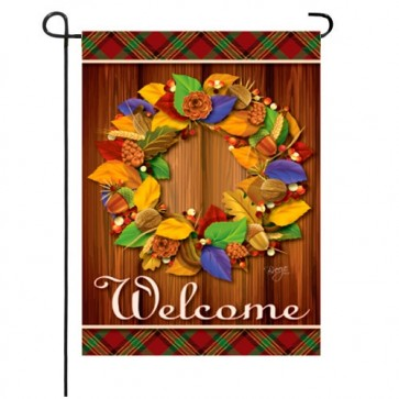Fall Wreath Garden Flag
