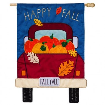 Happy Fall Y'all Pickup Truck House Flag